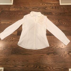 LOFT button down shirt with flower ruffles